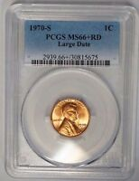 1970 S 1C LINCOLN CENT BU PENNY PCGS MS66RD LARGE DATE PLUS