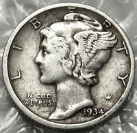 1934 D MERCURY SILVER DIME. FINE/EXTRA FINE. FULL DATE & MM. US COIN. 914