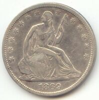 1869 S SEATED LIBERTY HALF DOLLAR XF AU DETAILS