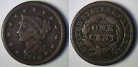1846 COPPER BRAIDED HAIR LIBERTY HEAD LARGE CENT US TYPE COIN FINE PENNY