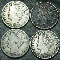 1883 W/CENTS 1884 1887 1910 LIBERTY V NICKELS --- SOME DAMAGES --- W370