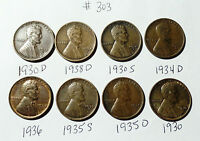 LINCOLN WHEAT CENT  LOT  303 8 COINS  1930S