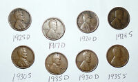 LINCOLN WHEAT CENT  LOT  962 8 COINS  1920S- 1930S