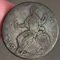 1776 COLONIAL TIMES   GEORGE LLL COPPER CONTEMPORARY EVASION 1/2 PENNY