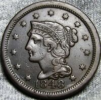 1848  BRAIDED HAIR LARGE CENT PENNY      TYPE COIN      D571