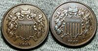 1864  1865 TWO CENT PIECES 2CP ---  TYPE COINS --- W867