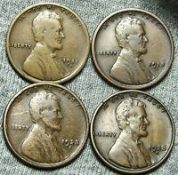 1911 D 1918 D 1923 S 1928 S LINCOLN WHEAT CENTS          W841