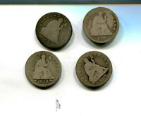 1854 1877 1876 1853 LIBERTY SEATED SILVER QUARTER LOT OF 4 AG GOOD