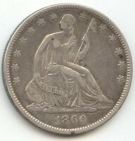 1860 O SEATED LIBERTY HALF DOLLAR XF DETAILS