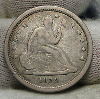 1839 SEATED LIBERTY QUARTER 25 CENTS   KEY DATE ONLY 491,146 MINTED. 6307