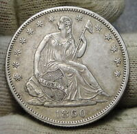 1860 SEATED LIBERTY HALF DOLLAR 50 CENTS KEY DATE 302,000  NICE COIN. 6229