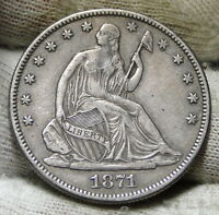 1871 SEATED LIBERTY HALF DOLLAR 50C   NICE COIN SEMI KEY DATE 1,203,6000 5942