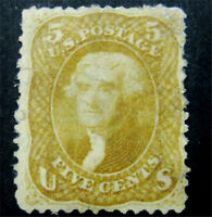 NYSTAMPS US STAMP  67 MINT WITH GUM H $27500 SMALL FAULTS