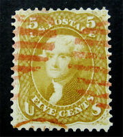 NYSTAMPS US STAMP  67 USED $1060 RED CANCEL