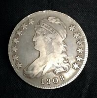 1808 50C CAPPED BUST SILVER HALF DOLLAR