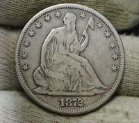 1872 SEATED LIBERTY HALF DOLLAR 50C   NICE COIN SEMI KEY DATE 880,600 6066