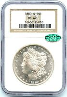 1880 S MORGAN SILVER DOLLAR NGC MS 67 WONDERFUL BRIGHT LUSTER WHITE COIN CAC