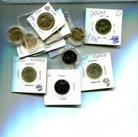 1968 1999 1964 2000 2004 2005 JEFFERSON NICKEL GOLD PLATED LOT OF 13