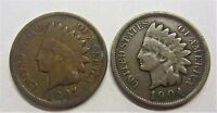 1897 & 1904 INDIAN HEAD PENNY'S US 1C  LOT OF 2