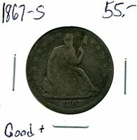 1867 S 50C SEATED LIBERTY HALF DOLLAR IN GOOD CONDITION