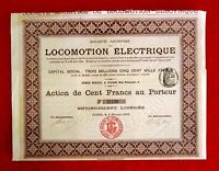 LOCOMOTION ELECTRIQUE STOCK CERTIFICATE WITH 20 COUPONS 1900  T7U