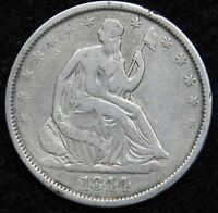 1844 O SEATED LIBERTY HALF DOLLAR 50 CENTS.  NICE OLD COIN  5241