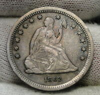 1862 SEATED LIBERTY QUARTER 25 CENTS    KEY DATE 932,000 MINTED. 6264