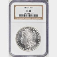 1879-S MORGAN SILVER DOLLAR NGC MINT STATE 66