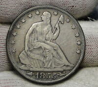 1855 O SEATED LIBERTY HALF DOLLAR 50 CENTS NICE COIN  6329