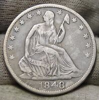 1848 O SEATED LIBERTY HALF DOLLAR 50 CENTS.  NICE OLD COIN  5571