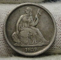 1838 O  SEATED LIBERTY DIME 10 CENTS NO STARS  NICE COIN  6258