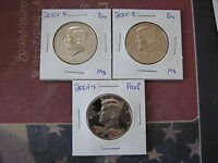 2001 PDS  PROOF & BU  KENNEDY HALF DOLLARS  3VERY NICE COINS   AA1