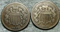 18641868 TWO CENT PIECES 2CP --- TYPE COINS LOT --- N454