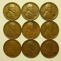 LOT OF 9 1933 D 1C LINCOLN WHEAT CENT PENNIES LOT 2