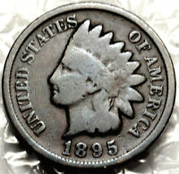 1895 INDIAN HEAD CENT.  G/VG. BOLD DATE. FULL RIMS.  133