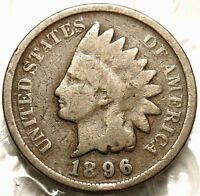 1896 INDIAN HEAD CENT. GOOD /  GOOD. BOLD DATE  FULL RIMS. US PENNY.  125