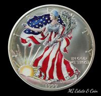 1999 AMERICAN SILVER EAGLE COLORIZED PAINTED 1 OZ .999 BULLION ROUND COIN