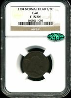1794 NORMAL HEAD 1/2C LIBERTY CAP HALF CENT C-4A F15BN NGC 3608061-002 CAC