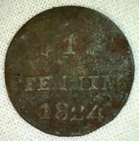 1824 AS GERMAN STATES ROSTOCK PFENNIG YG KM135 COPPER WORLD COIN P