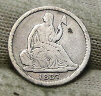 1837 SEATED LIBERTY HALF DIME H10C NO DRAPERY -  COIN, SHIPS FREE 6462
