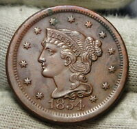 1854 LARGE CENT, BRAIDED HAIR PENNY -  COIN, SHIPS FREE  6170