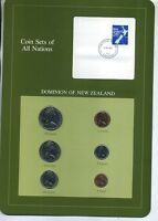NEW ZEALAND 1982  6 COIN BU SET WITH STAMP BU