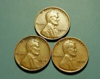1937 P 1938 P 1939 P LINCOLN WHEAT PENNY 3 COIN SET  W5789