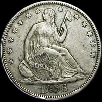 1856 SEATED LIBERTY HALF DOLLAR DASH ON 1 ERROR?   STUNNING TYPE COIN      D335