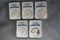 2011 25TH ANNIVERSARY SILVER EAGLE 5 COIN SET  ALL MS70 & PF70   EARLY RELEASES