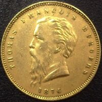SOUTH AFRICA 1874 GOLD POND  FINE BEARD  KM1.2 NEARLY UNCIRCULATED