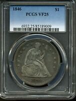 1846 $1 SEATED LIBERTY SILVER DOLLAR VF25 PCGS 85189009