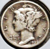 SILVER MERCURY DIME   1929 D   EARLY DATES    $1 UNLIMITED SHIPPING