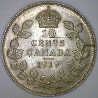 1919 CANADA CANADIAN SILVER TEN CENT COIN 10 CENTS GEORGE V BU UNC Y1