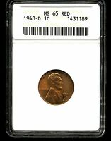 1948-D 1C LINCOLN WHEAT CENT MINT STATE 65 RED ANACS 1431189